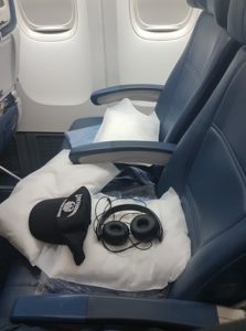 prepared for sleeping on a plane
